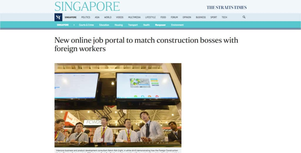 The Straits Times: New Online Job Portal to Match Construction Bosses with Foreign Workers