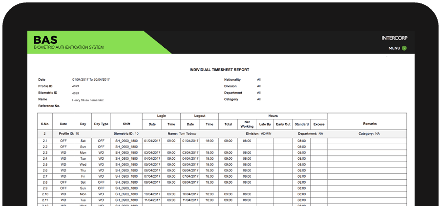BAS Timesheet user interface