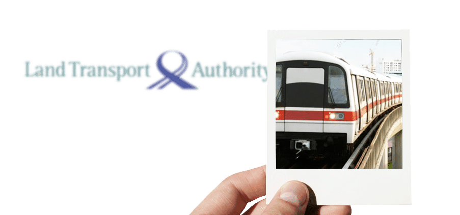 a polaroid of MRT with a Land Transport Authority logo in the background