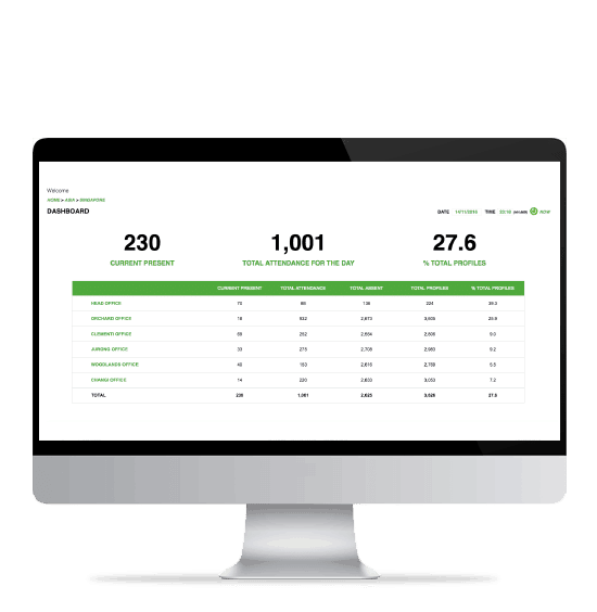 BAS attendance user interface on a desktop