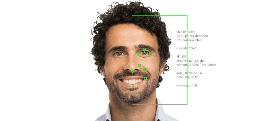 Biometrics Facial Scanner scanning a user's identity