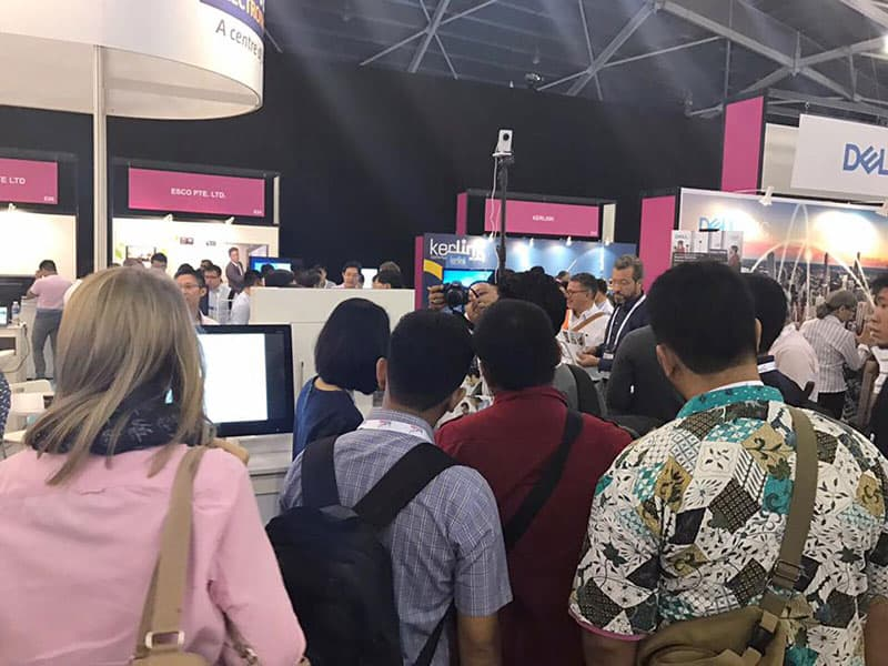 Crowd forming around the booth at We are at IoT (Internet of Things) Asia 2017