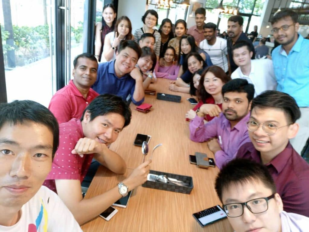Chinese New Year Lou Hei Luncheon with a selfie of the whole team