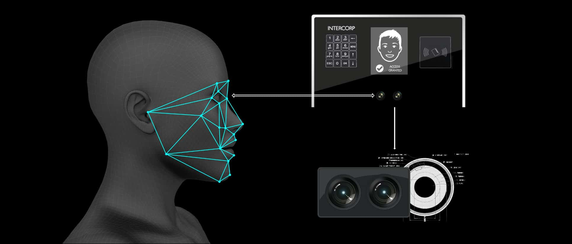 artist's impression of a biometric facial recognisation process using intercorp BAS