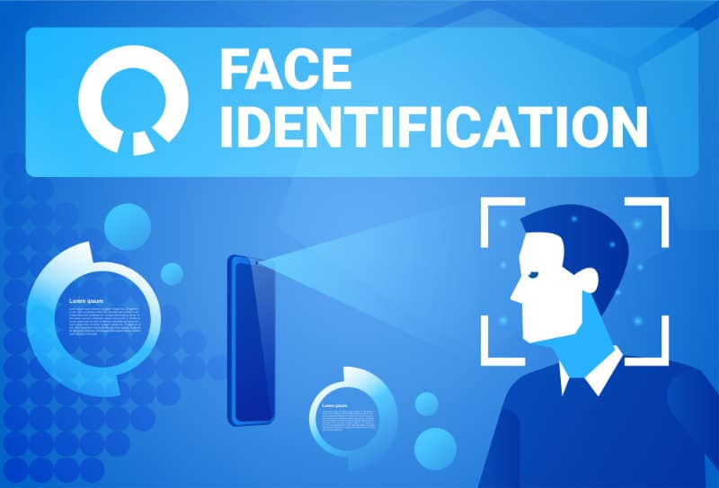 Face Identification Smart Phone Scan Male Face Modern Access Control Technology Recognition System Concept