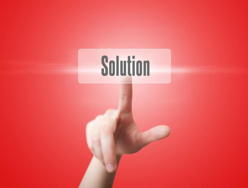 woman finger push solution button