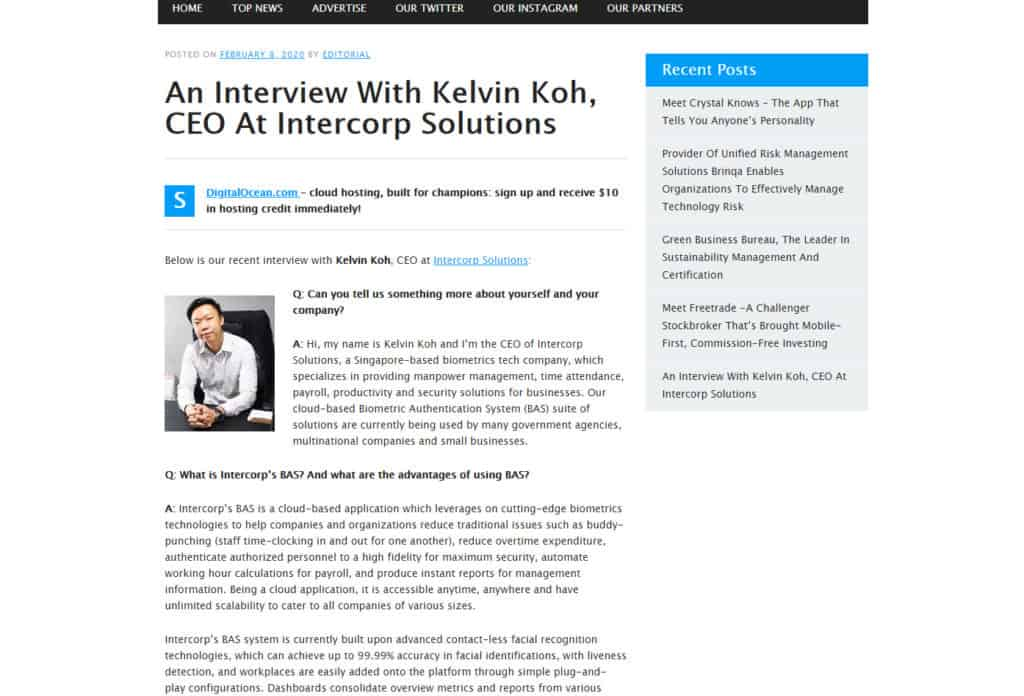 TechCompanyNews - An Interview with Kelvin Koh, CEO at Intercorp Solutions